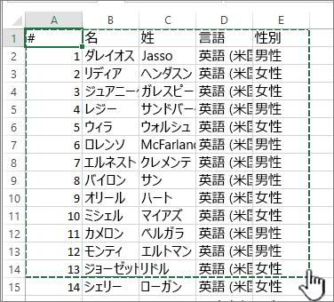 範囲が強調表示されている Excel スプレッドシート