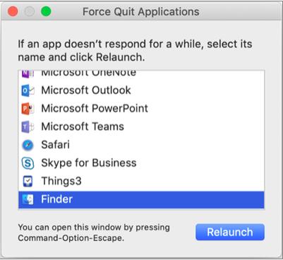 [アプリケーションの強制終了] ウィンドウで選択されている [Finder] が表示されます。