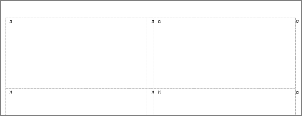 Word により、選択したラベル製品に一致する寸法を持つテーブルが作成されます。
