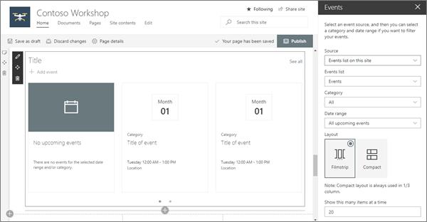 SharePoint Online の最新のワークショップサイト用のイベントの web パーツ入力の例
