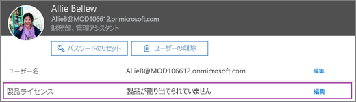 スクリーンショットには、Allie Bellew という名前のユーザーの情報が表示されています。製品のライセンスの領域では、ユーザーに対して製品が割り当てられていませんが、編集オプションが利用できるようになっています。