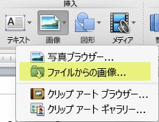 リボンの [ホーム] タブの [挿入] で、[画像]、[ファイルからの画像] の順にクリックします。