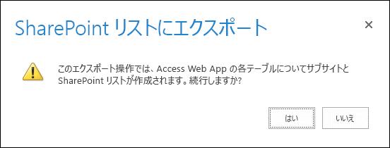 確認ダイアログ ボックスのスクリーンショット。[はい] をクリックするとデータが SharePoint リストにエクスポートされ、[いいえ] をクリックするとエクスポートがキャンセルされます。