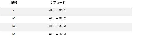 一般的なチェック マーク記号の文字コード。