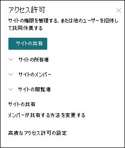 SharePoint サイトのアクセス許可パネル