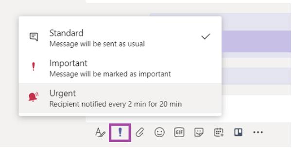 [メッセージの重要度] メニュー。 メッセージを [作成] ボックスから [重要] または [緊急] に変更する方法について説明します。