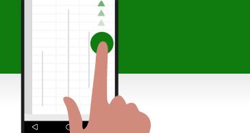 スクロール ハンドルが指でポイントされているスマート フォンの画面