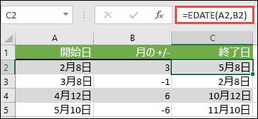 日付から月数を加算または減算するには、EDATE を使用します。 この場合、=EDATE(A2,B2) (A2 は日付)、B2 には加算または減算する月数が含まれる。