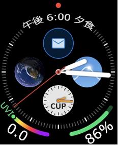 メール アイコンが表示されている Apple Watch の文字盤