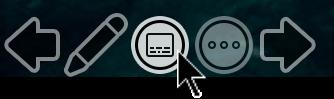 PowerPoint スライドショー表示の [字幕の切り替え] ボタン。