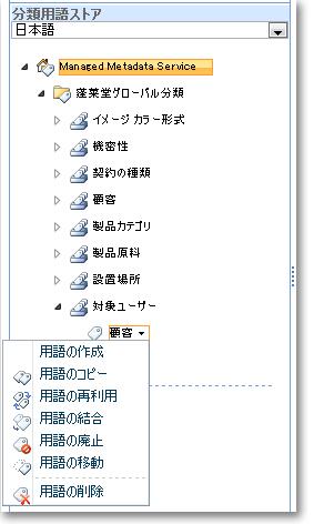 用語セット内の用語を管理するためにこのメニューを使用します。