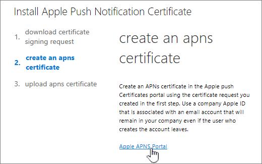 Apple APN Portal を選択した状態の APN Notification 証明書をインストールするダイアログ