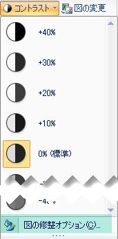コントラストの量を微調整するには、[図の修正] オプションを選択します。