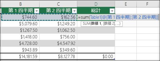テーブル内にオートコンプリートする単一の数式を追加して、集計列を作成する