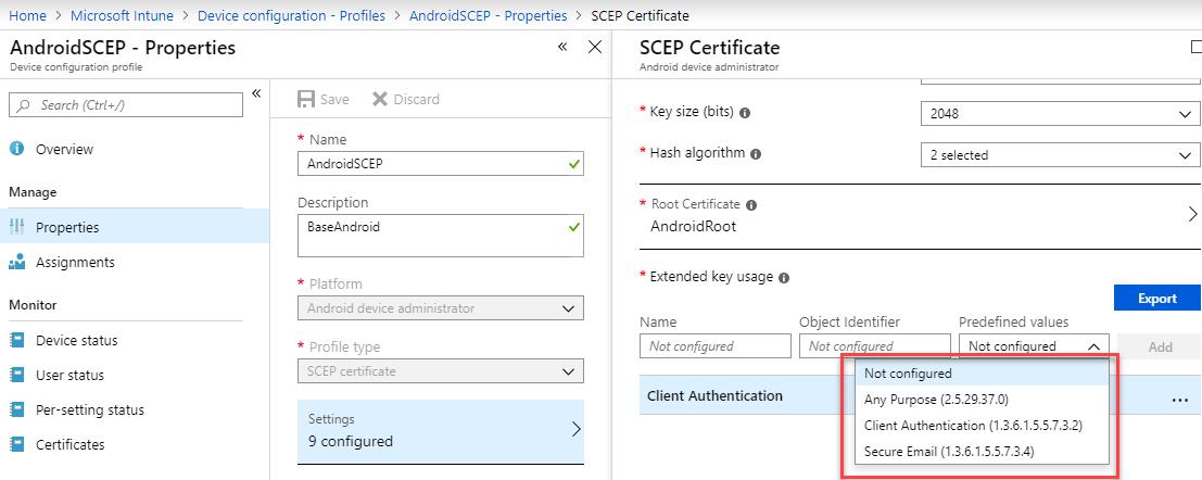 SCEP プロファイル