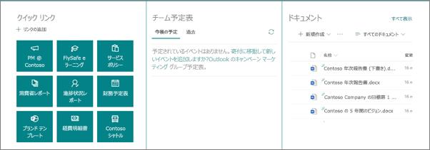 3列構成セクションの Web パーツ
