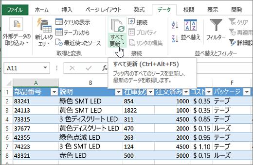 リストをインポートし、[すべて更新] が強調表示されている Excel スプレッドシート。