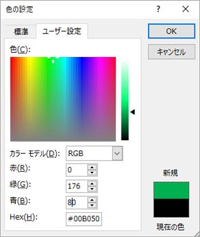 ユーザー設定の色の表示