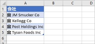 株価アイコンを示すリンクされたレコードに変換されたセル