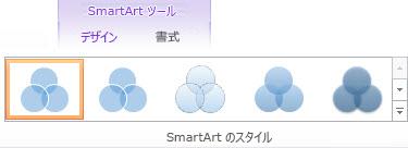 [SmartArt ツール] の [デザイン] タブの [SmartArt のスタイル]