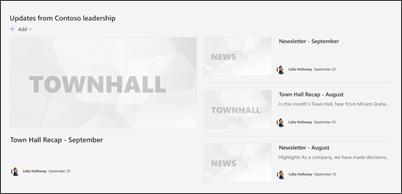 部門サイト テンプレートのニュース Web パーツの画像