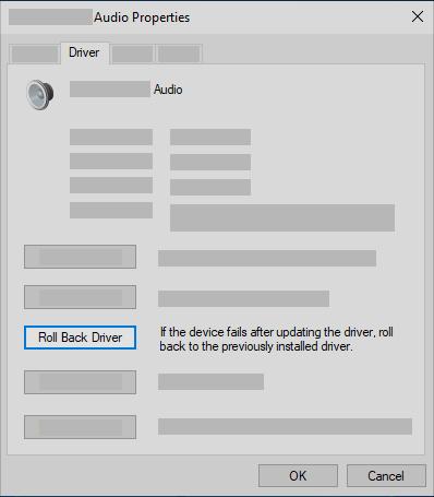 デバイスマネージャーでオーディオドライバーをロールバックする