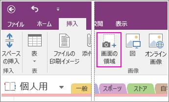 OneNote 2016 の [画面の領域の挿入] ボタンのスクリーンショット