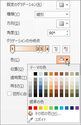 各グラデーションの分岐点の色を変更する