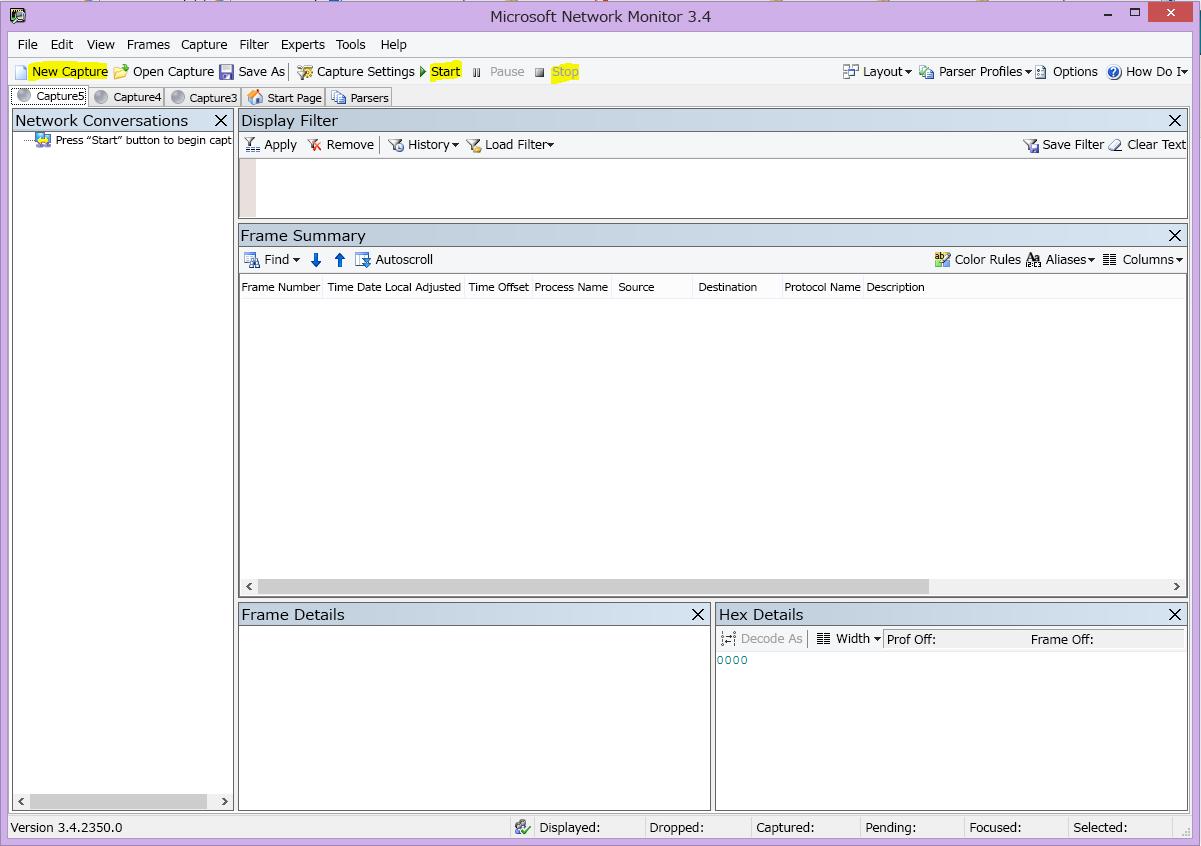 [新しいキャプチャ]、[開始]、および [停止] ボタンが強調表示された Nemon のユーザー インターフェイス