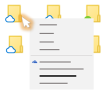 エクスプローラーから OneDrive ファイルを右クリックしたときに示されるオプション メニューの概念図