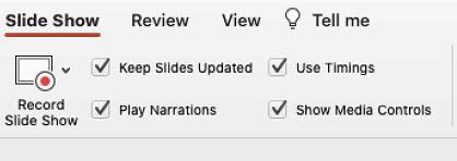 [スライドを最新の状態に保つ] が選択されている、リボンの [スライドショー] タブ。