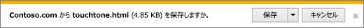 Internet Explorer のダウンロード プロンプト