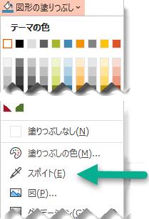 スポイト ツールは、[図形の塗りつぶし] メニューに表示されます。