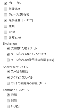 Office 365 グループ レポート - 列を選択する