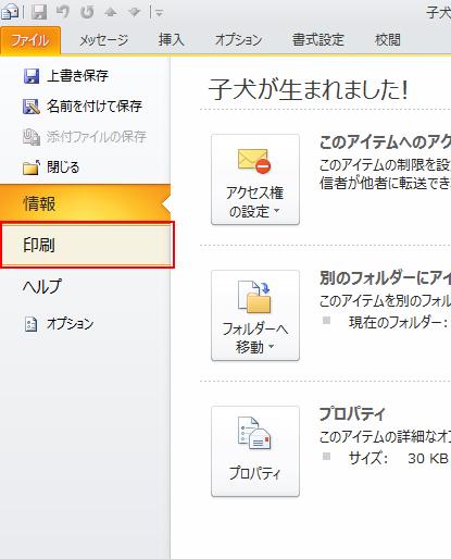 [ファイル] タブの [印刷] をクリックします。