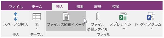 OneNote 2016 の [ファイルの印刷イメージ] ボタンのスクリーンショット