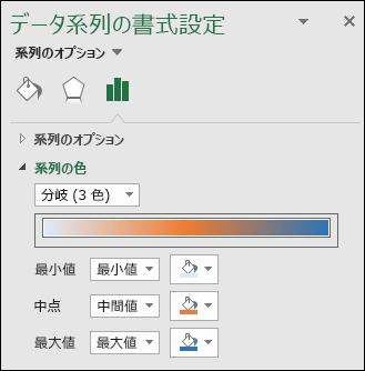 Excel マップ グラフの系列の色オプション
