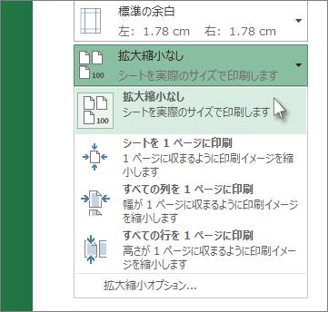 [設定] で目的の拡大/縮小オプションをクリックする