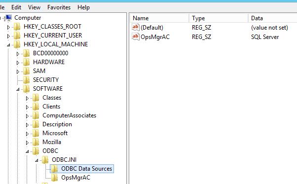 ODBC データ ソース サブキー