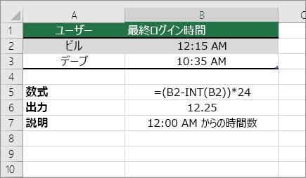 例: 時間を標準時間形式から10進数に変換する