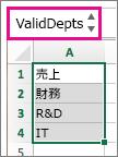 名前付き範囲が表示された名前ボックス