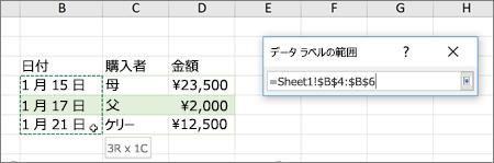 [データラベルの範囲] ダイアログボックス