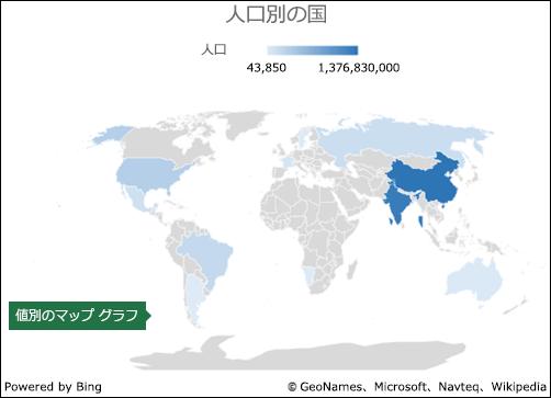 値のデータ付きの Excel マップ グラフ