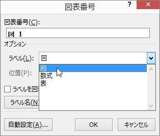 [図表番号] ダイアログを使用して、図、表、数式の図表番号オプションを設定する。