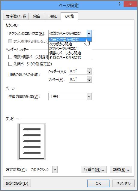 [ページ設定] ダイアログ ボックスには、詳細なページ設定オプションが含まれます。