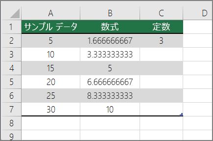 定数で数値を除算の結果