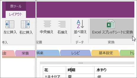 OneNote 2016 の [Excel スプレッドシートに変換] ボタンのスクリーンショット