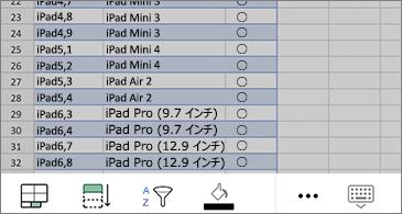 ワークシートで選択されたセル、画面の下部の使用できるコマンド