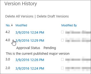 1 つのマイナー バージョンが削除されているバージョン履歴