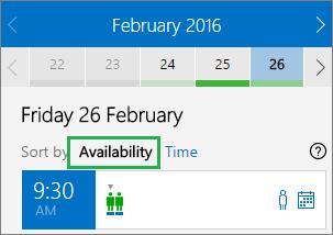 空き時間別に並べ替えられた会議のオプション
